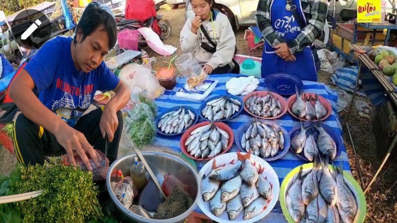 ตลาดนัดท้ายเมืองนครพนม เนื้อวัวสด ผักกะเดา จุ๊ตับหวาน หาดน้ำโขง