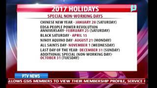 2017 Holidays, inilabas na ng pamahalaan
