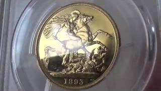 アンティークコイン グレートブリテン金貨 Great Britain ビクトリア プルーフ 2ポンド 1893 PR65 DCAM PCGS