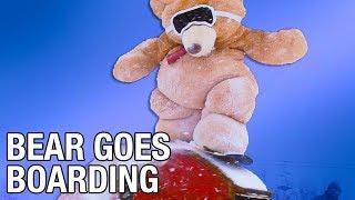 Giant Teddy Bear Goes Snowboarding