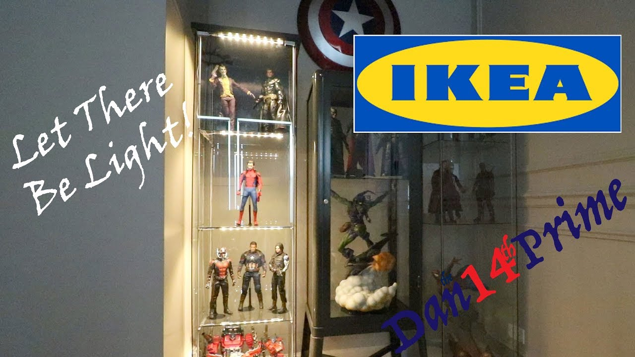 how to light an ikea detolf display cabinet with dioder led light kit