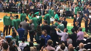 Boston Celtics introduce Kyrie Irving and Gordon Hayward as starters in preseason opener