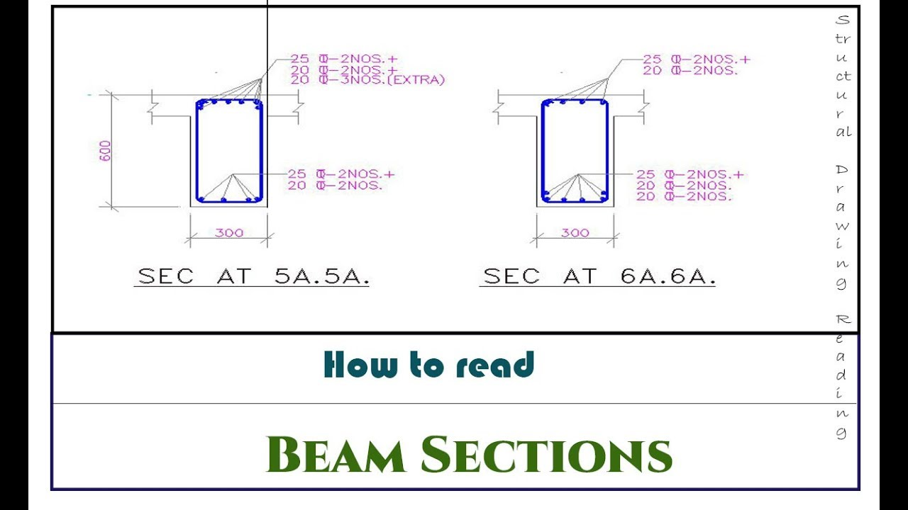 How To Read Beam Section Drawings Reading Structural Drawings Youtube