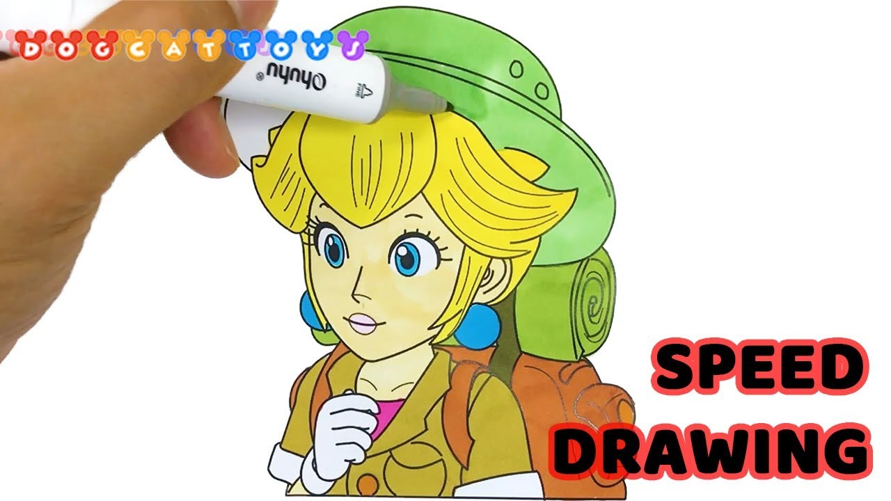 Speed Drawing Super Mario Odyssey Princess Peach Drawing Coloring Pages Videos For Kids