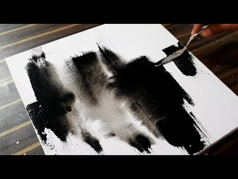 Making Of Abstract Painting On Canvas Black White Acrylics