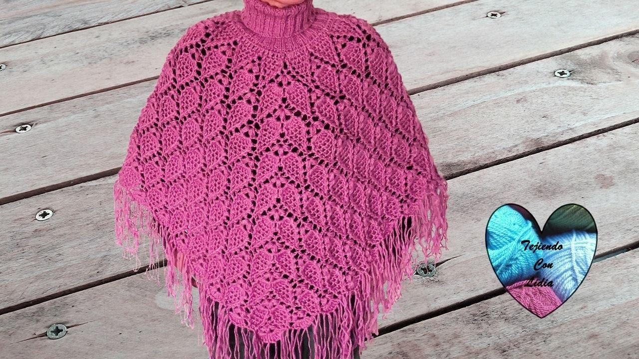 Poncho Tejido A Crochet En Relieve Con Cuello Alto F 225 Cil