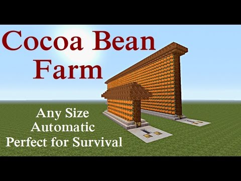 Minecraft Tutorial : Automatic Cocoa Bean Farm Any Size Plus MORE