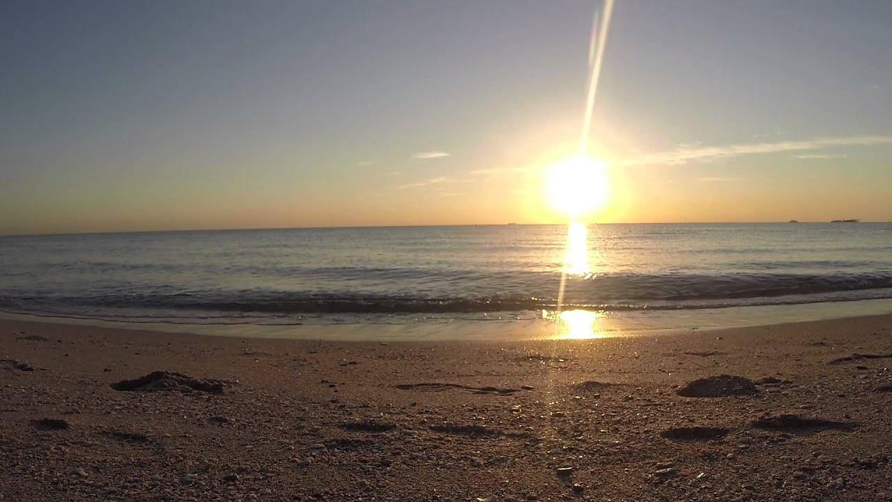 sunrise on the beach ocean waves sound youtube. Black Bedroom Furniture Sets. Home Design Ideas
