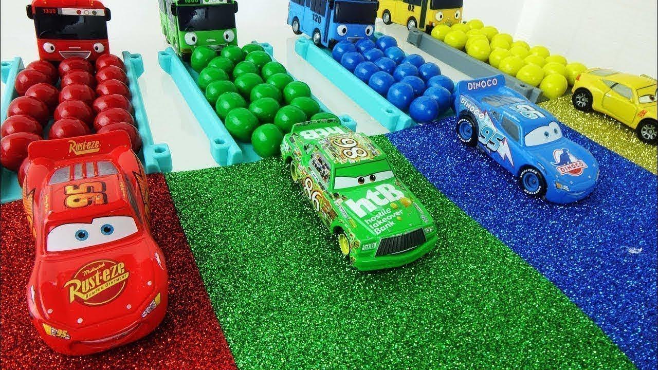 Download 디즈니카 타요 무지개 미끄럼틀 컬러레일 캔디볼 Disney Car Pixar Lightning McQueen Tayo Bus Rainbow Slide gumball 토이튜브TV