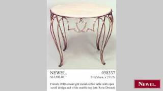 Antique French 1940s Round Gilt Metal Coffee Table With