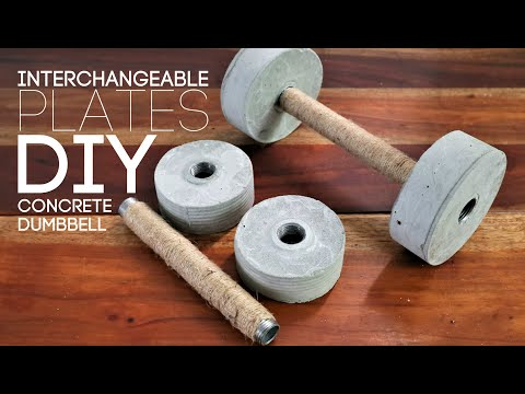 DIY Homemade Concrete Dumbbell Interchangeable Plates