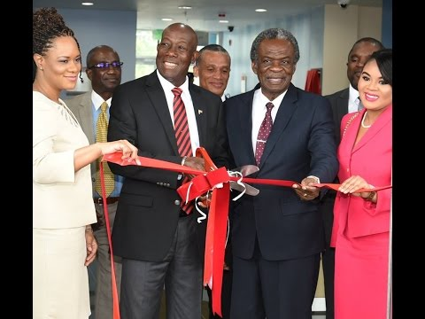 Prime Minister Rowley at the  opening of the new Meteorological Facility (Tobago)