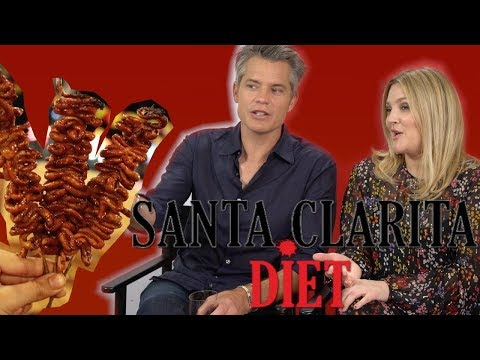 Drew Barrymore and Timothy Olyphant play the organ meat challenge