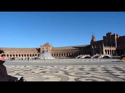 2013 España   Andalucia, Sevilla, Plaza de España, Tour Nord, Fontaine, Ponts, à Noël à Vélo