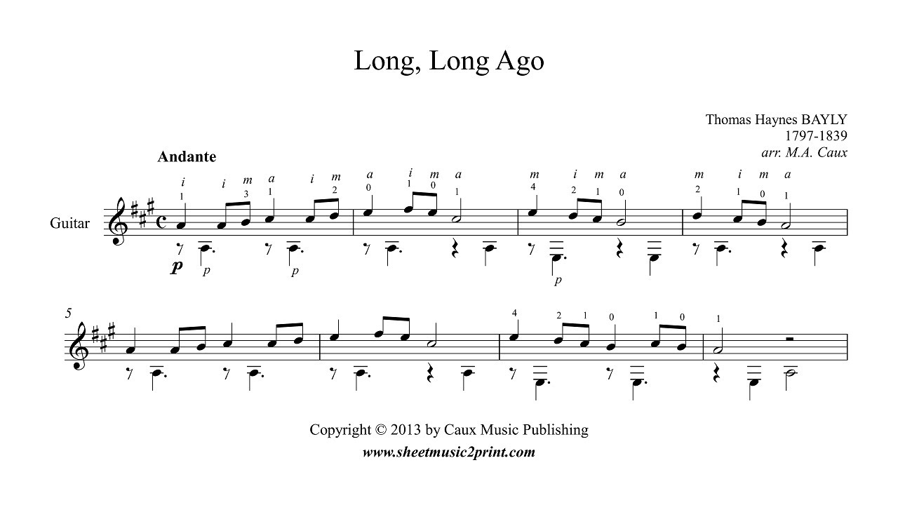 Long long ago guitar sheet music youtube long long ago guitar sheet music hexwebz Images