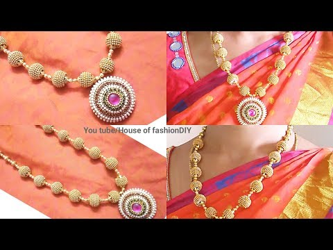 How To Make Silk Thread Necklace At Home Using Ball Chain||Looks Like Gold..!