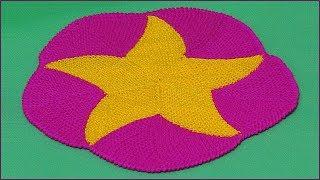 Коврик спицами. Вязание коврика. Вязание укороченными рядами. Звезда спицами. (Mat)