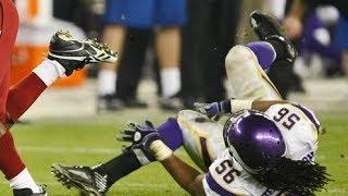 Viking's E.J. Henderson Breaks Leg Full Video Slow Motion