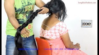 Most Eye Catching Thick Cobra Braid Making & Play of Lustrous Knee Length Hair