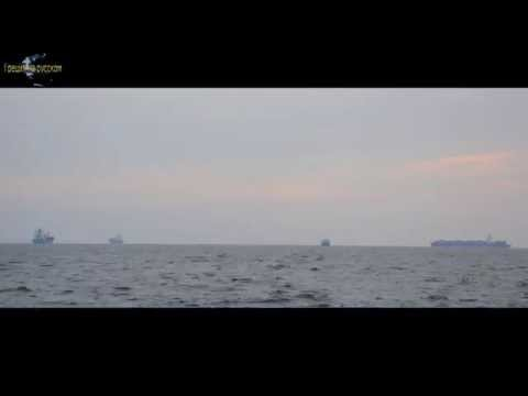 Time-lapse in Greece. Ships at Thermaikos Thessaloniki