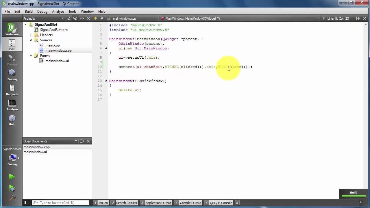 Qt creator add slot - Signals And Slots Qt Creator