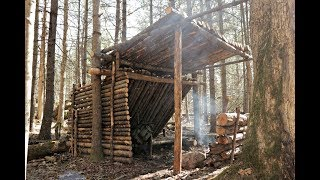 Solo Bushcraft Overnight in my Semi Permanent Bush Shelter, Fire Inside, Building the Front Wall.