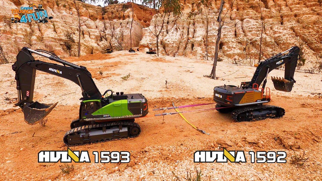 Download HUINA 1593 VS HUINA 1592 | Tug Of War | Test & Comparison | RC Construction | Cars Trucks 4 Fun