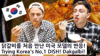 닭갈비를 처음 만난 미국 모델의 반응! (309/365) Trying Korea's No.1 DISH! Dakgalbi!!!