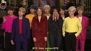 [Sub Español] Emma Stone and Cecily Strong Are Freaking Out About BTS - SNL