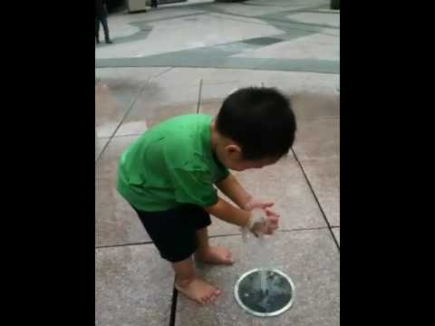 KK at the water fountain