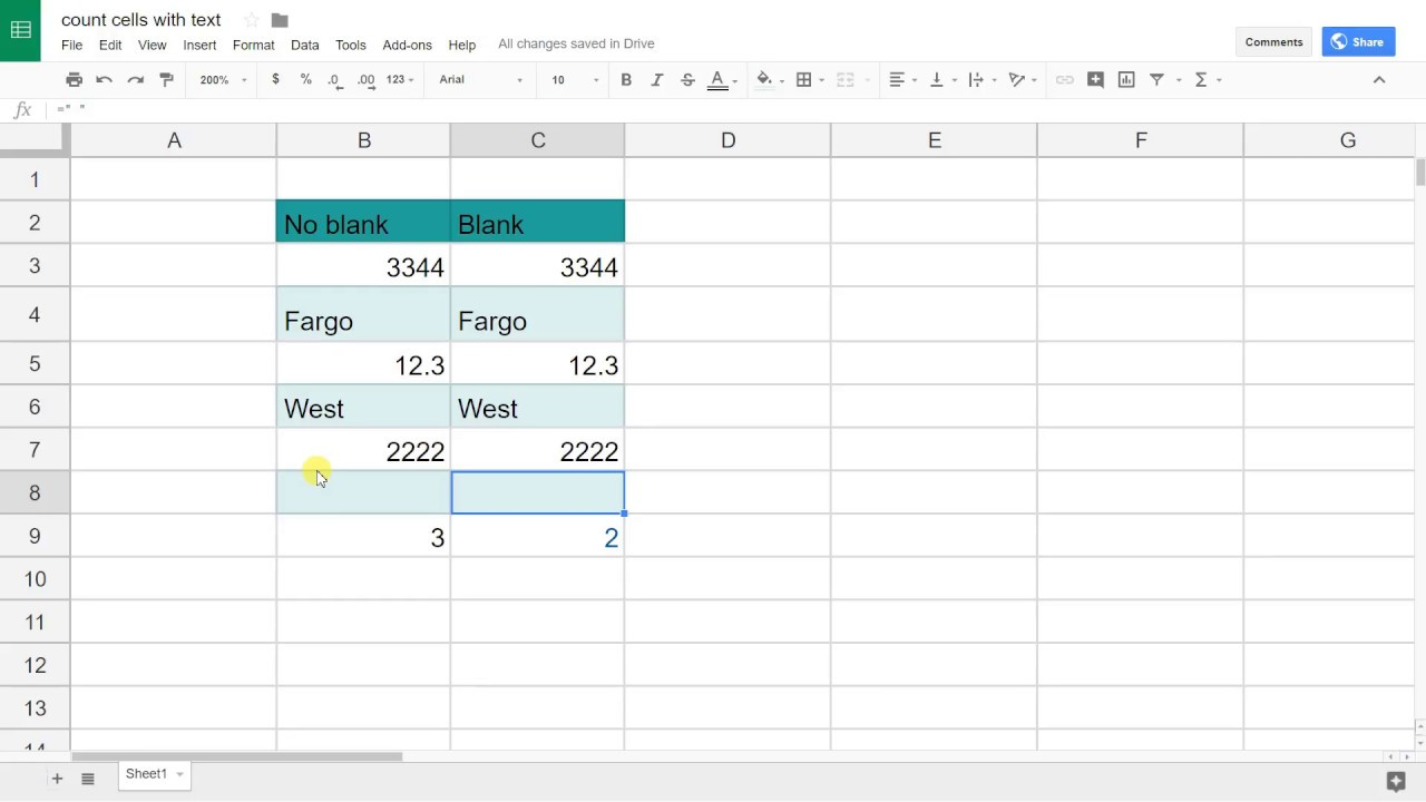 Google Sheets - Count Cells with Text Only - Not Numbers