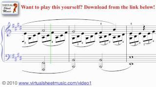 Beethoven's Moonlight Sonata piano sheet music - Video Score