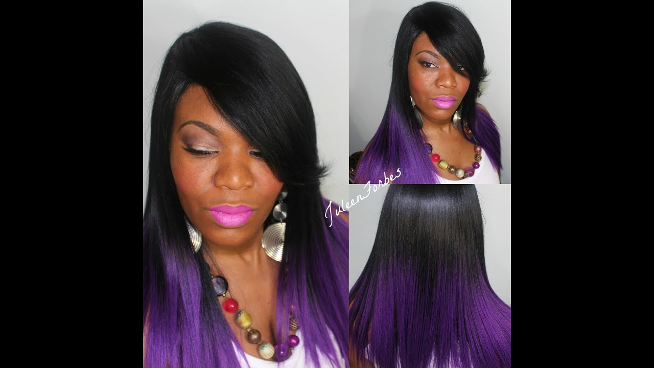 Dark brown hair with blue and purple tips