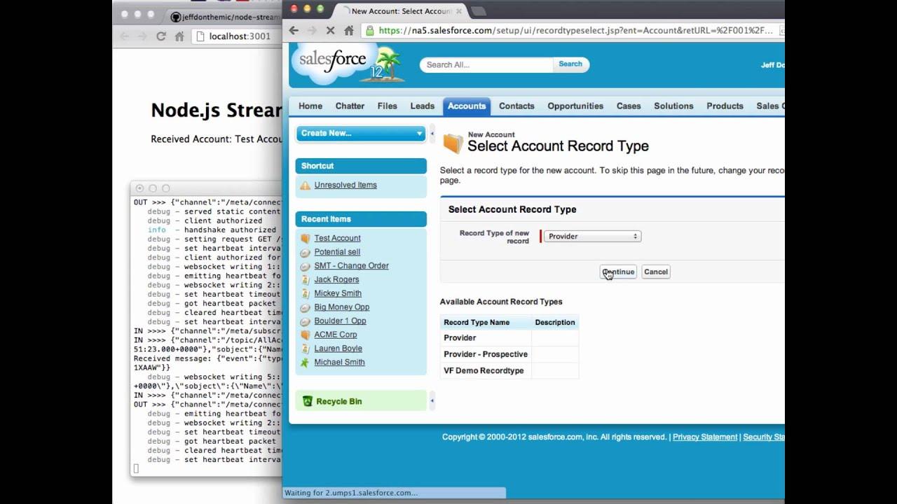 Node js Demo with Force com Streaming API & Socket io