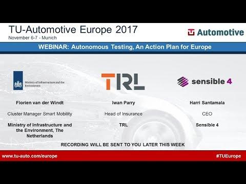 Webinar: Autonomous Vehicle Testing - An Action Plan for Europe