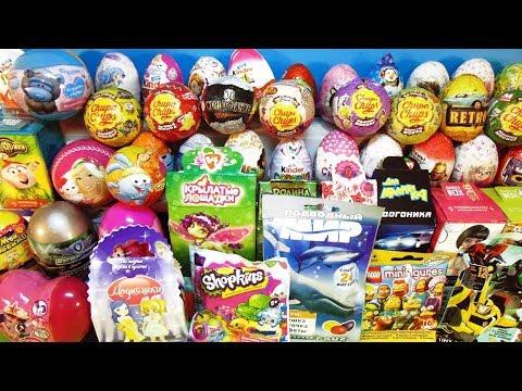 50 СЮРПРИЗОВ Смешарики, Frozen, My little pony, Барби, Тролли, Дисней Kinder Surprise Eggs unboxing