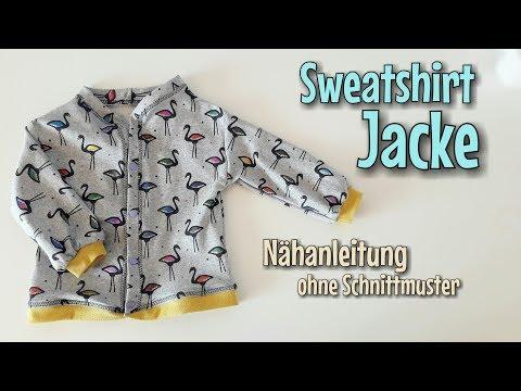 Sweatshirt Jacke - Nähen OHNE Schnittmuster - Anfänger - Nähtinchen