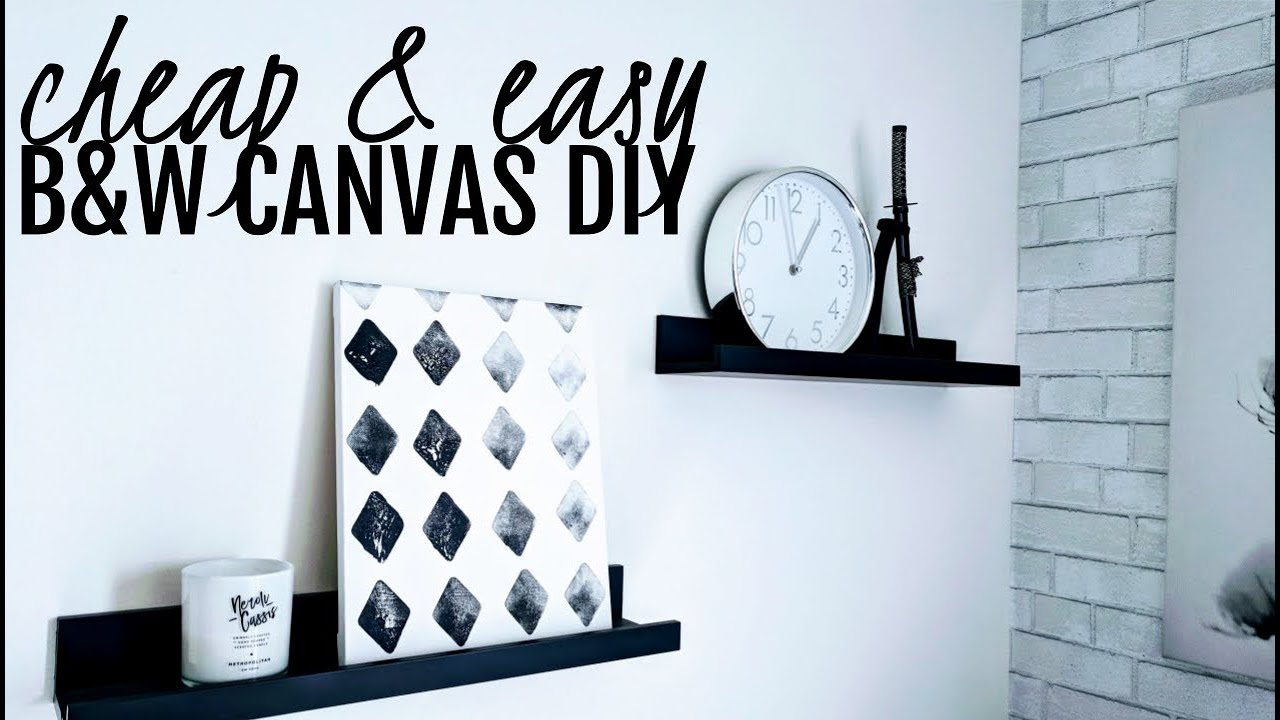 Black and White Apartment Decor | DIY Canvas Art  sc 1 st  YouTube & Black and White Apartment Decor | DIY Canvas Art - YouTube