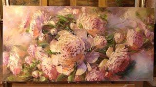 Oil painting Alla Prima. Sunny peonies.  Солнечные пионы. Живопись маслом Alla Prima.