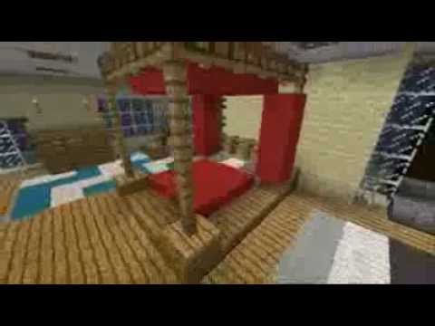 Minecraft interior design four poster bed youtube for Bed decoration minecraft