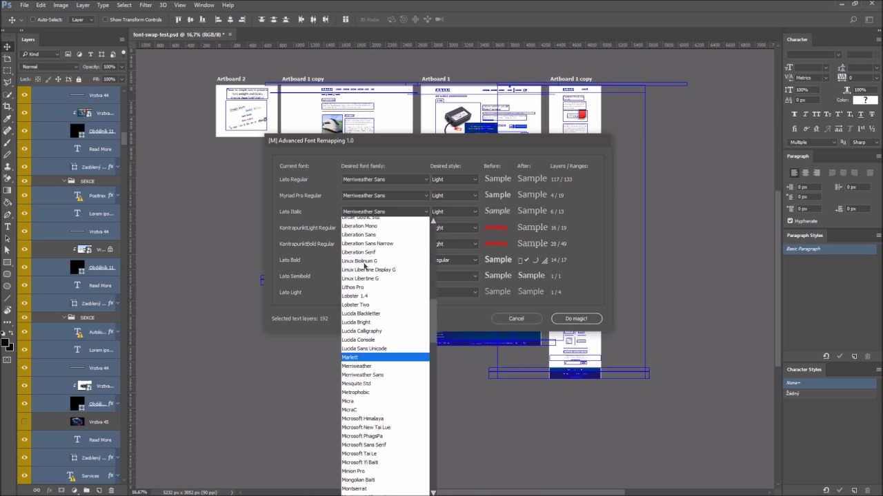 Photoshop CC 2014: Ability to choose a specific font from