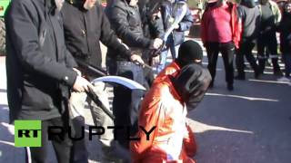 Greece: Farmers hold mock 'ISIS' execution to protest austerity taxes