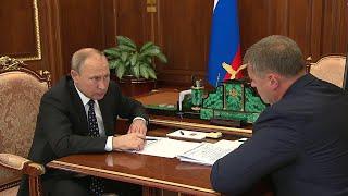 Врио губернатора Астраханской области И.Бабушкин доложил президенту об основных приоритетах региона.