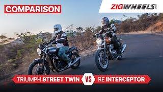 Triumph Street Twin vs Royal Enfield Interceptor | Is The Twin Thrice The Bike? | ZigWheels.com