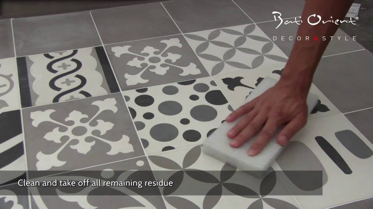 Cement Tiles Installation YouTube - Faux encaustic tile
