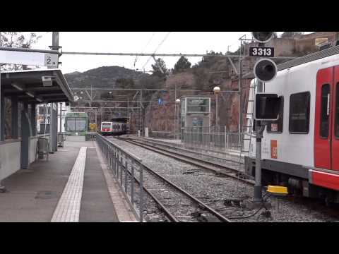 Montserrat, Spain - Line R5 Trains at Monistrol Montserrat HD (2013)