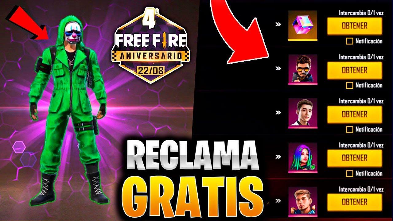PREMIOS GRATIS DEL 4TO ANIVERSARIO en FREE FIRE RECLAMA PERSONAJES GRATIS CUBO MAGICO Y MS