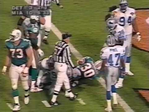 1994 Wk 17 Miami Beats Detroit 27-20 on Christmas Night; Highlights With Radio Call
