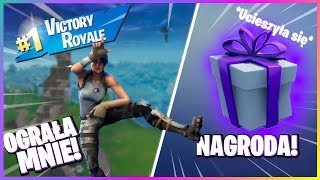 14 YEAR OLD GIRL WON WITH ME 1v1 for a GIFT in FORTNITE! * I BOUGHT HER SKINS *