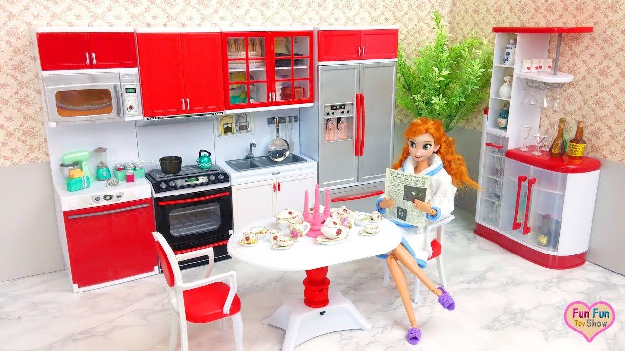 Barbie Doll Deluxe Kitchen Unboxing Cooking Boneka Barbie Dapur Mainan Barbie Boneca Cozinha Youtube